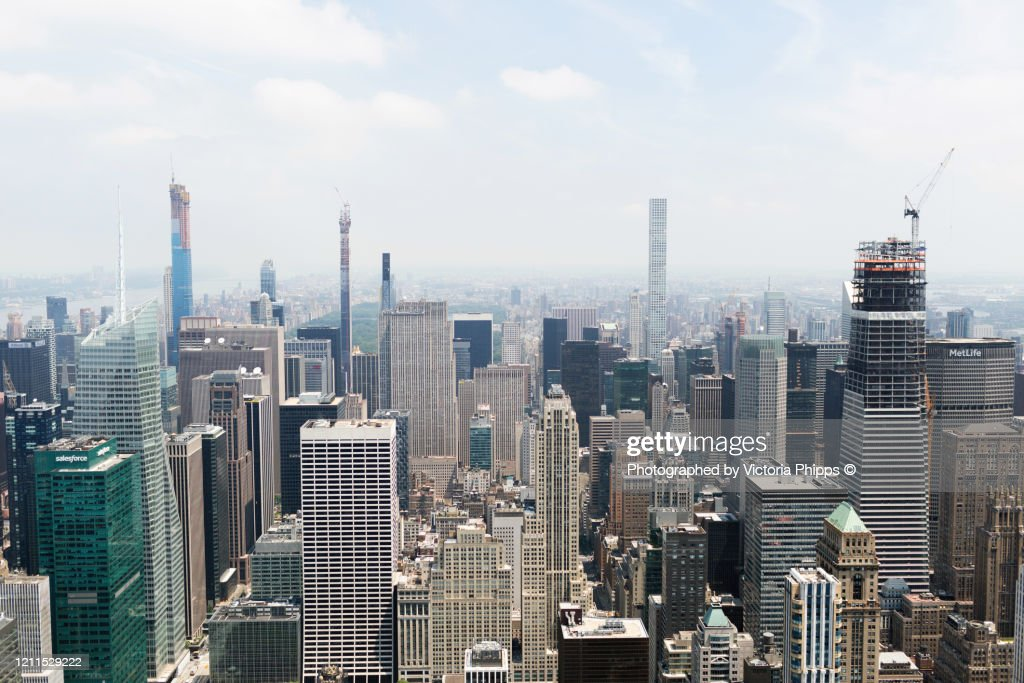 High view of the skyscrapers of Manhattan, New York : Stock Photo