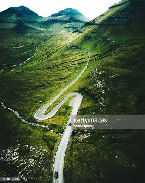 high view of the winding roads at the faroe islands
