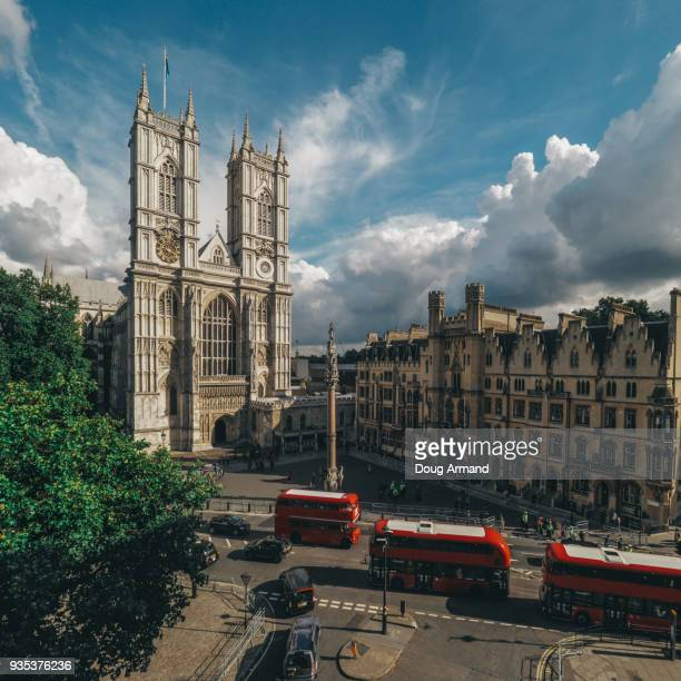 high view of westminster abbey, london, uk - westminster abbey stock pictures, royalty-free photos & images