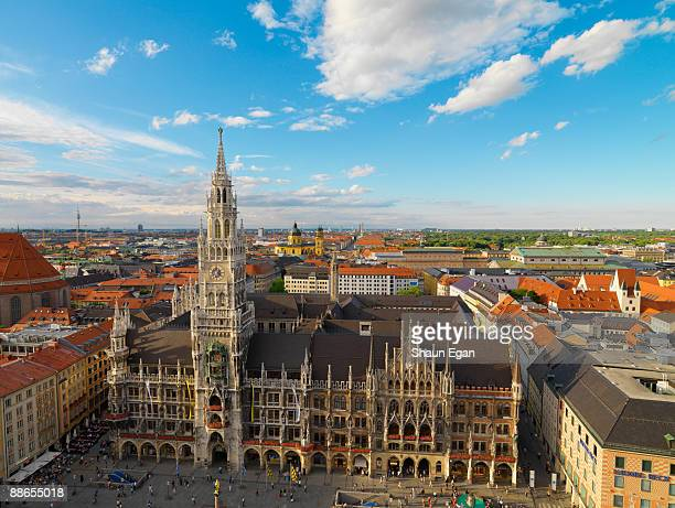high view over new town hall - new town hall munich stock pictures, royalty-free photos & images