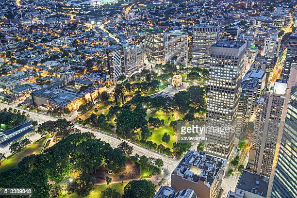 High view to Hyde Park, Sydney at night