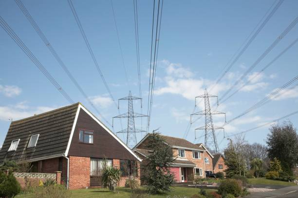 High voltage electricity power lines from Sizewell over suburban ...