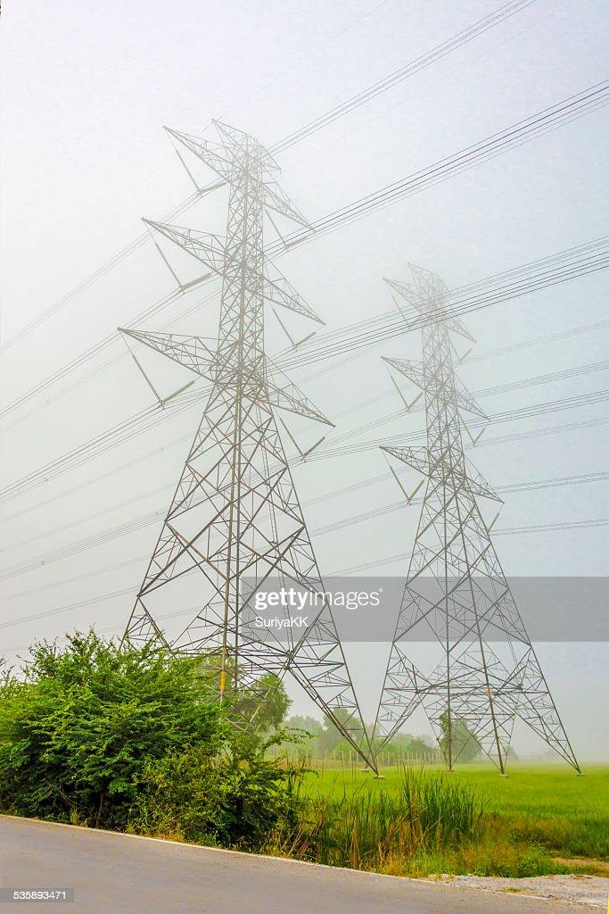 High voltage electricity pylon : Stock Photo