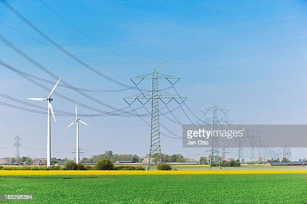 High voltage power lines and windenergy