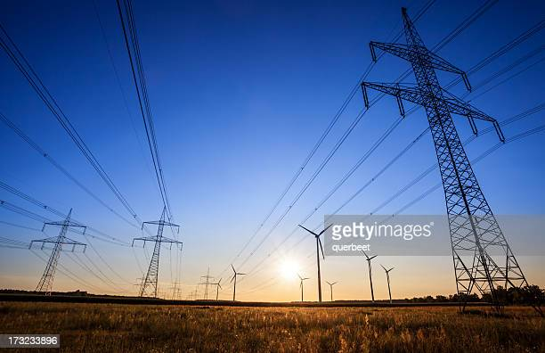 high voltage tower - sunset - power line stock pictures, royalty-free photos & images
