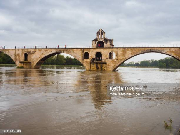 high water in rhône river with pont d'avignon - marek stefunko stock pictures, royalty-free photos & images