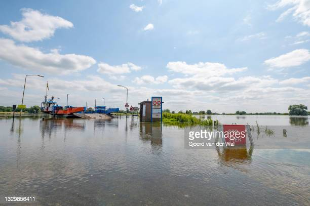 High water level on the floodplains of the river IJssel between Zwolle and Deventer on July 20 in Wijhe, Overijssel, The Netherlands. The road...