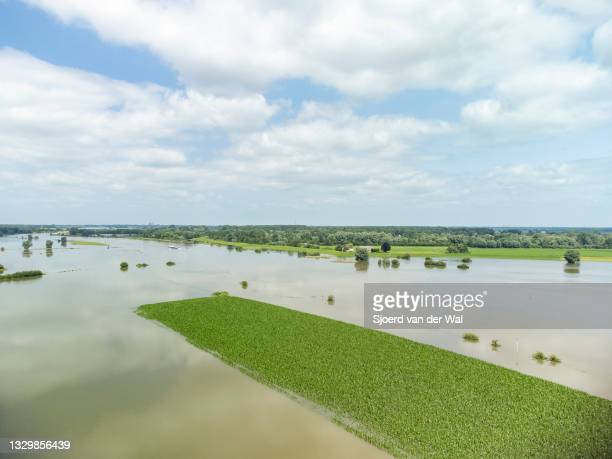 High water level on the floodplains of the river IJssel between Zwolle and Deventer on July 20 in Zwolle, Overijssel, The Netherlands. Aerial drone...