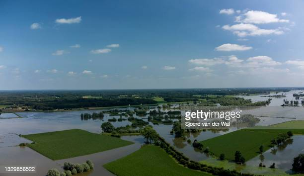 High water level on the floodplains of the river IJssel between Zwolle and Deventer on July 20 in Oene, Overijssel, The Netherlands. Aerial drone...
