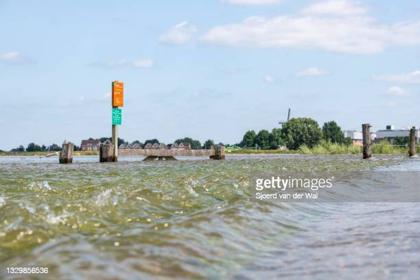 High water level on the floodplains of the river IJssel between Zwolle and Deventer on July 20 in Welsum, Overijssel, The Netherlands. The road...
