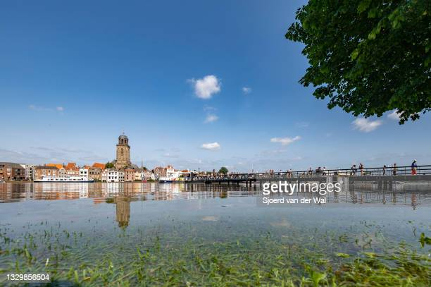 High water level on the floodplains of the river IJssel on July 20 in Zwolle, Overijssel, The Netherlands. Low angle point of view over the river and...