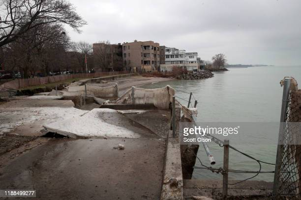 High water levels in Lake Michigan erode a walkway at Rogers Beach and threaten homes in the Rogers Park neighborhood on November 18, 2019 in...