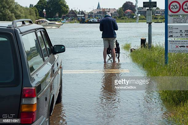 high water on the river ijssel - natural disaster stock pictures, royalty-free photos & images
