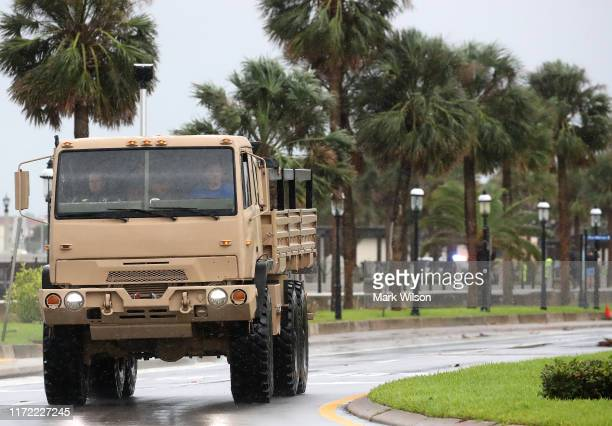 A high water vehicle patrols the area after Hurricane Dorian passed by on September 4 2019 in St Augustine Florida The slowmoving Dorian which has...