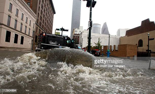 High waters from flood some streets in Houston Texas as Hurricane Ike passes through the area on Saturday September 13 in Houston Texas