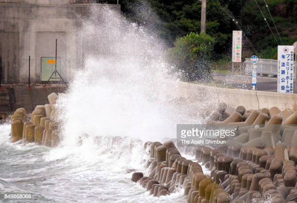 High waves hit a pier as Typhoon Talim hit on September 17 2017 in Sumoto Hyogo Japan The storm made initial landfall over MinamiKyushu in Kagoshima...