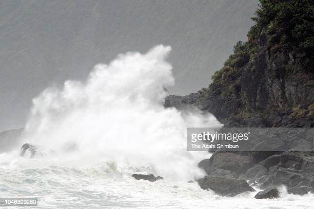 High waves splash as Typhoon Trami approaches on September 29 2018 in Amami Kagoshima Japan The typhoon is expected to pick up speed and maintain its...