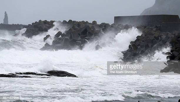 High waves triggered by the typhoon Vongfong hits breakwater on October 12 2014 in Makurazaki Kagoshima Japan The Japan Meteorological Agency warned...
