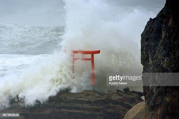 High waves triggered by Typhoon Lionrock crash against a torii gate on a coast of the city of Iwaki in Fukushima Prefecture on Aug 30 2016 The...