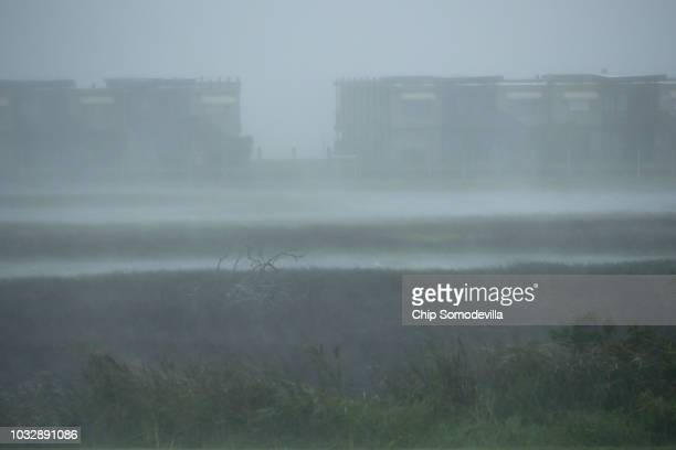 High wind and driving rain obscure the 8 1/2 Marina Village as Hurricane Florence beings to make landfall September 13 2018 in Atlantic Beach United...