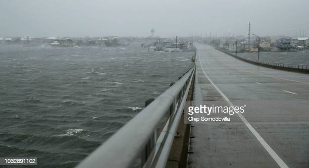 High wind and driving rain obscure the view from the Atlantic Beach Bridge as Hurricane Florence beings to make landfall September 13 2018 in...