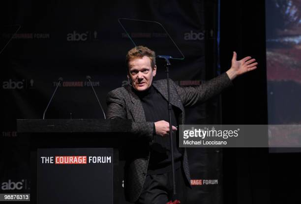 High wire artist Philippe Petit addresses the audience during the 2010 Courage Forum with Sir Richard Branson Philippe Petit presented by The...
