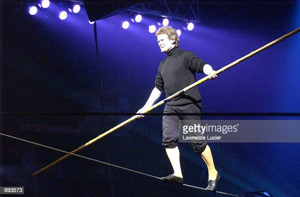 High wire artist Philippe Petit performs at the benefit Arts on the High Wire January 11 2002 in New York The benefits proceeds supports the New York...