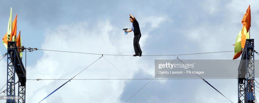 Chico Marinhos tight-rope stunt Pictures | Getty Images