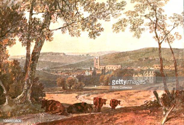 High Wycombe from the Marlow Road' circa 1802 Rural scene with cows in the foreground and the town of High Wycombe in Buckinghamshire in the distance...