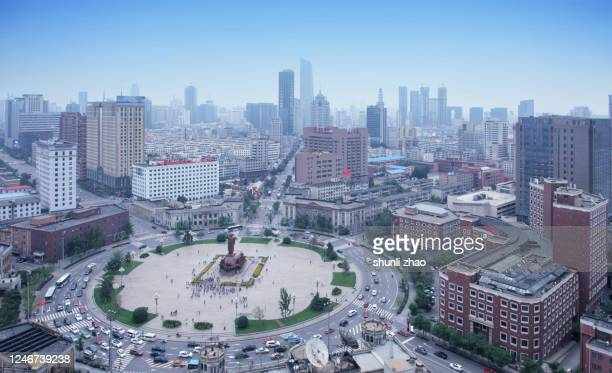 a high-altitude view of the city's circular square - shenyang stock pictures, royalty-free photos & images