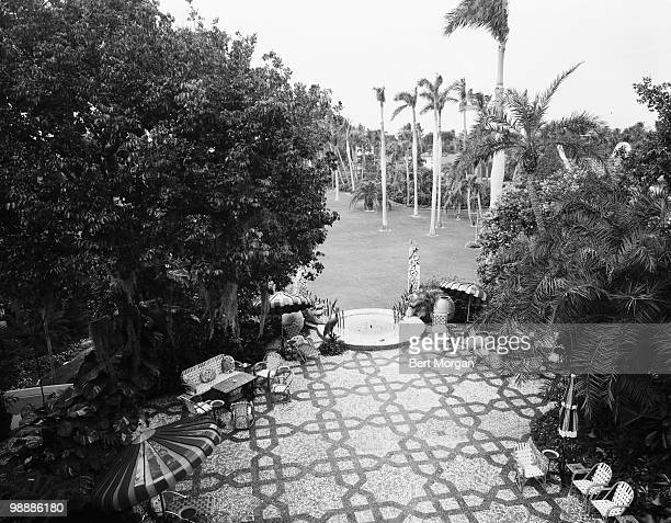 Highangle exterior view of a tiled garden terrace at MaraLago Palm Beach Florida mid 1950s The residence designed by Marion Sims Wyeth and Joseph...