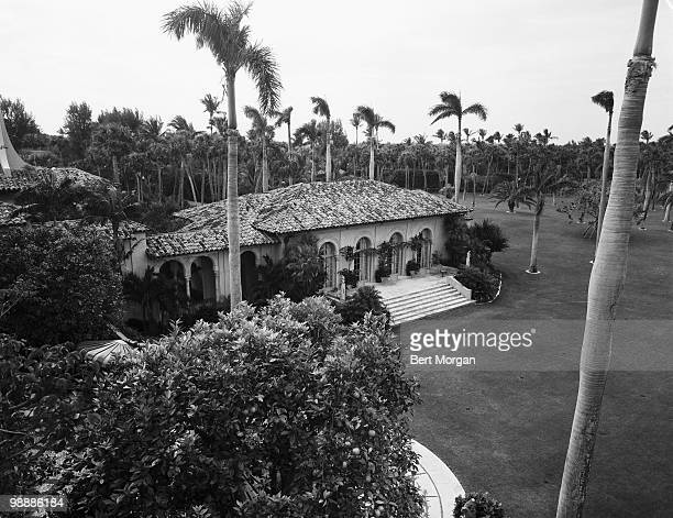 Highangle exterior view of the grounds at MaraLago Palm Beach Florida mid 1950s The residence designed by Marion Sims Wyeth and Joseph Urban was the...