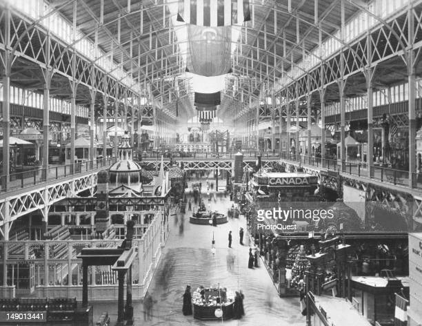 Highangle interior view of the Agricultural Building one of the exhibit halls at the World's Columbian Exposition Chicago Illinois 1893