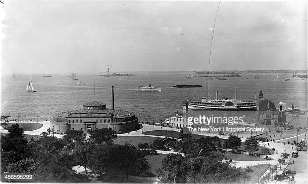 Highangle of Battery Park Castle Garden / New York City Aquarium and the 'General Slocum' in New York Harbor New York New York 1895