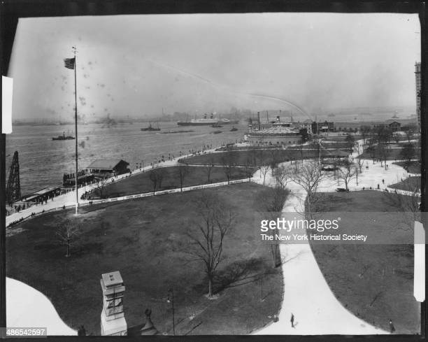 Highangle shot of Battery Park New York New York 1895 Harbor and Castle Garden/New York City Aquarium visible