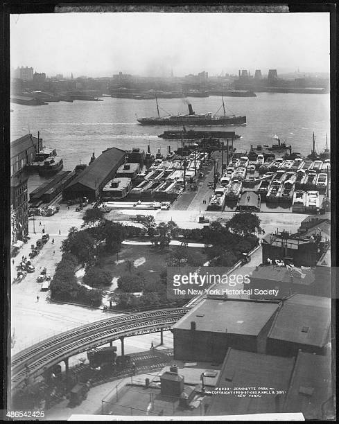 Highangle shot of Jeannette Park the South Street docks and the East River New York New York 1909