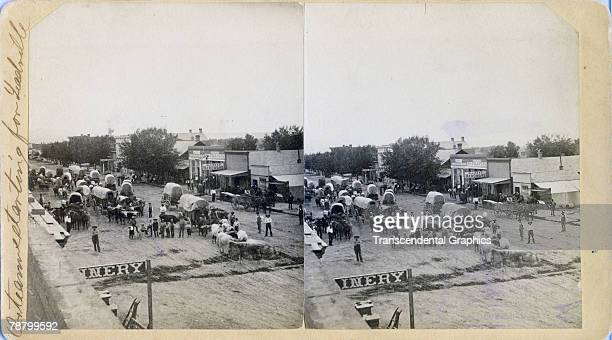 Highangle stereoscopic view of an oxen team assembled in a street late 1800s