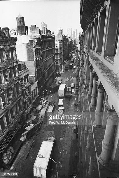 Highangle view looking north along Greene Street New York New York October 9 1969 The towers in the distance are housing for New York University
