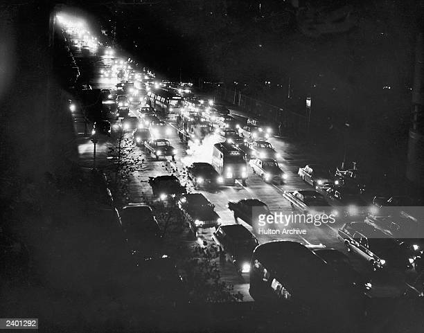 A highangle view of a traffic jam on First Avenue during a power blackout November 9 1965 in New York City The largest power blackout in the history...