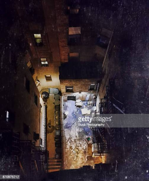 high-angle view of air shaft / courtyard in a tenement in the east village, manhattan, new york city - east village stock pictures, royalty-free photos & images