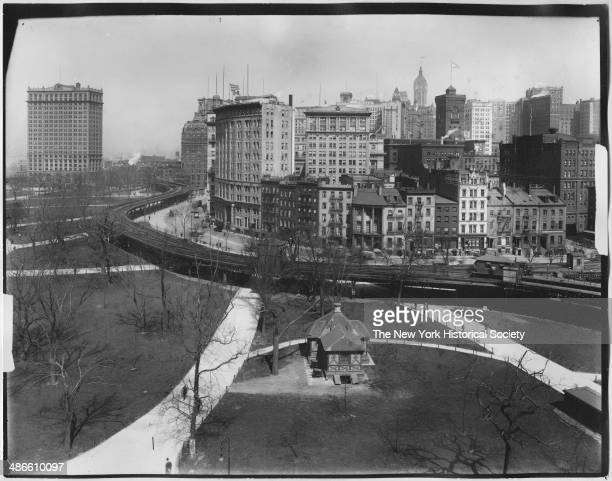 Highangle view of Battery Park looking north to State Street and Bowling Green New York New York 1895