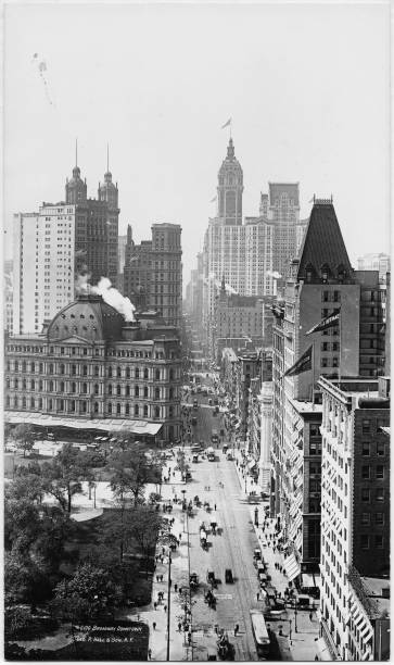 High-Angle View Of Broadway Looking South At Chambers Street