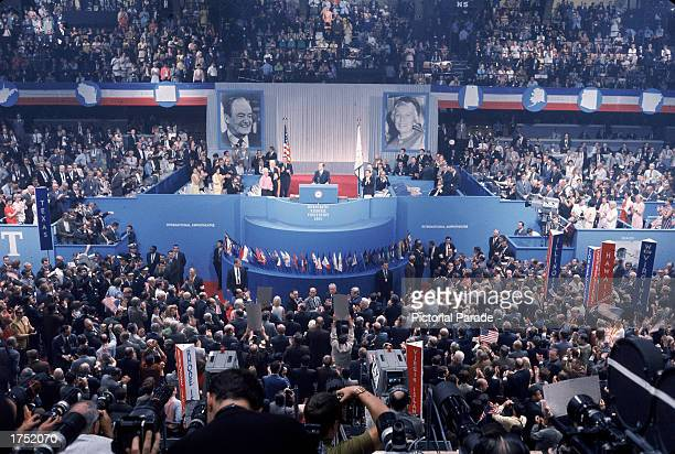 Highangle view of delegates inside the Democratic National Convention Chicago Illinois 1968