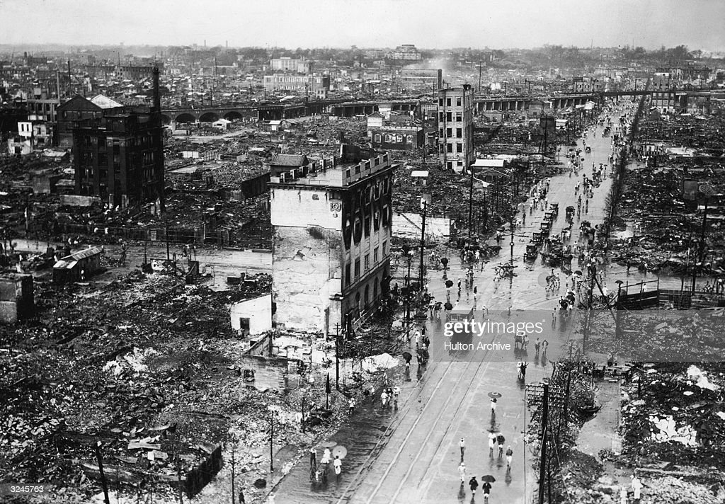 High-angle view of earthquake and fire damage on Hongokucho Street and the Kanda District, taken from the Yamaguchi Bank building after the Kanto earthquake, Tokyo, Japan.