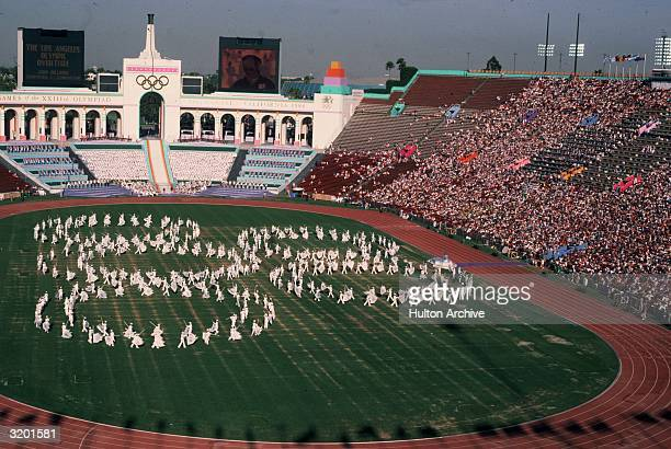 Highangle view of human Olympic ring formations at summer games Olympic Stadium Los Angeles California