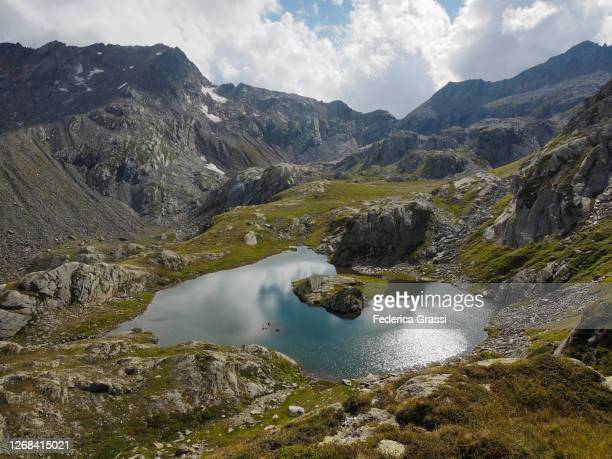 high-angle view of lago laiozz in the naret region of southern switzerland - ascona stock pictures, royalty-free photos & images