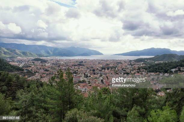 highangle view of marmaris in winter in aegean turkey. - emreturanphoto stock pictures, royalty-free photos & images