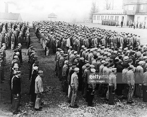 Highangle view of Polish prisoners in striped uniforms standing in rows before Nazi officers at the Buchenwald Concentration Camp Weimar Germany...
