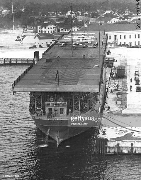 High-angle view of the flight deck of the USS Langley , the US Navy's first aircraft carrier, docked at Naval Air Station Pensacola, Pensacola...