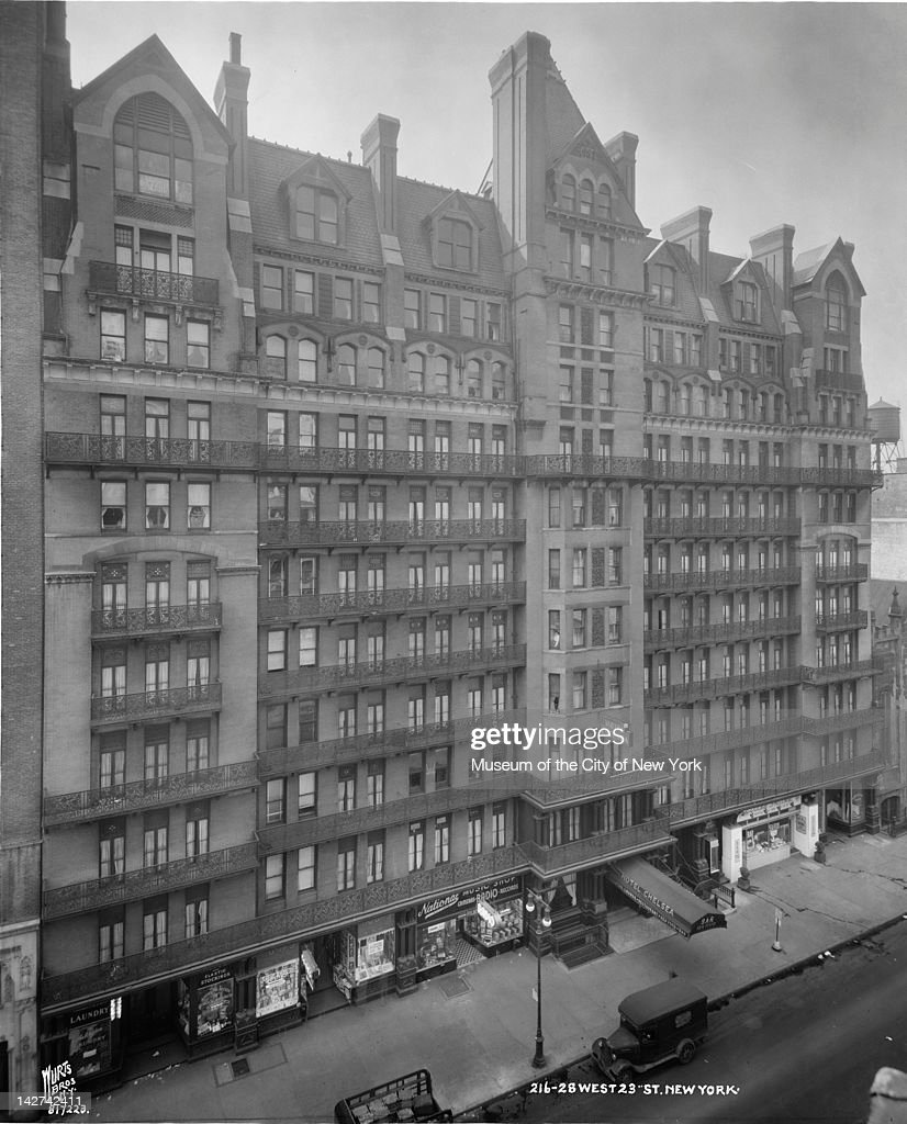 High-angle view of the Hotel Chelsea (at 222 West 23rd Street), New York, New York, March 21, 1947.